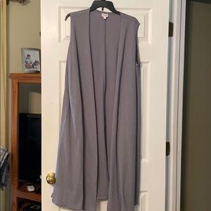 Lularoe Joy Long Vest in Large LT Grey Texture